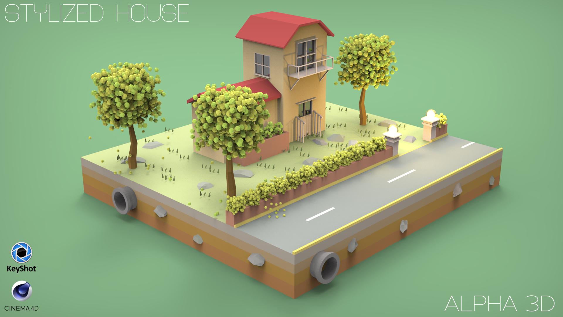 Low Poly Stylized House