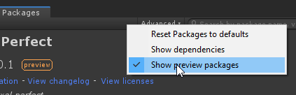 Package Manager, Show Preview Packages