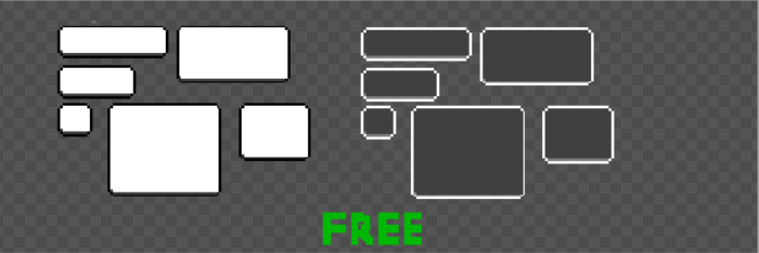 Black and white buttons and shapes for retro pixel  game
