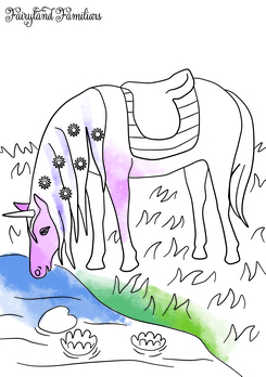 A coloring page of a unicorn drinking water