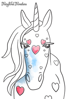A coloring page of a unicorn with hearts