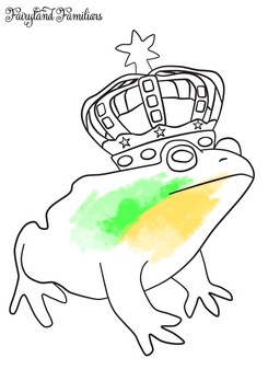 A coloring page of a frog