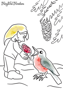 A coloring page of a gnome with a bird