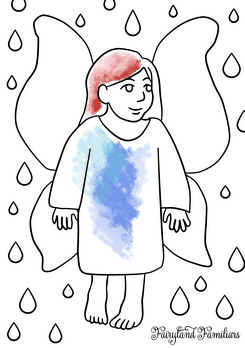 A coloring page of an fairy going through a rain