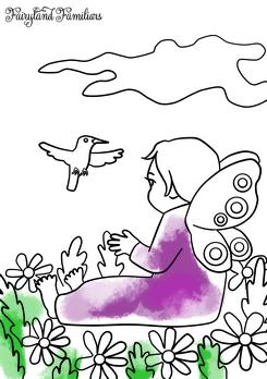 A coloring page of a fairy looking at a bird