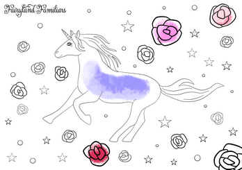 A coloring page of a unicorn