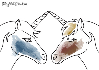 A coloring page of two unicorns