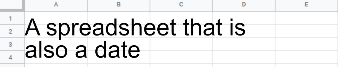 A spreadsheet that is also a date