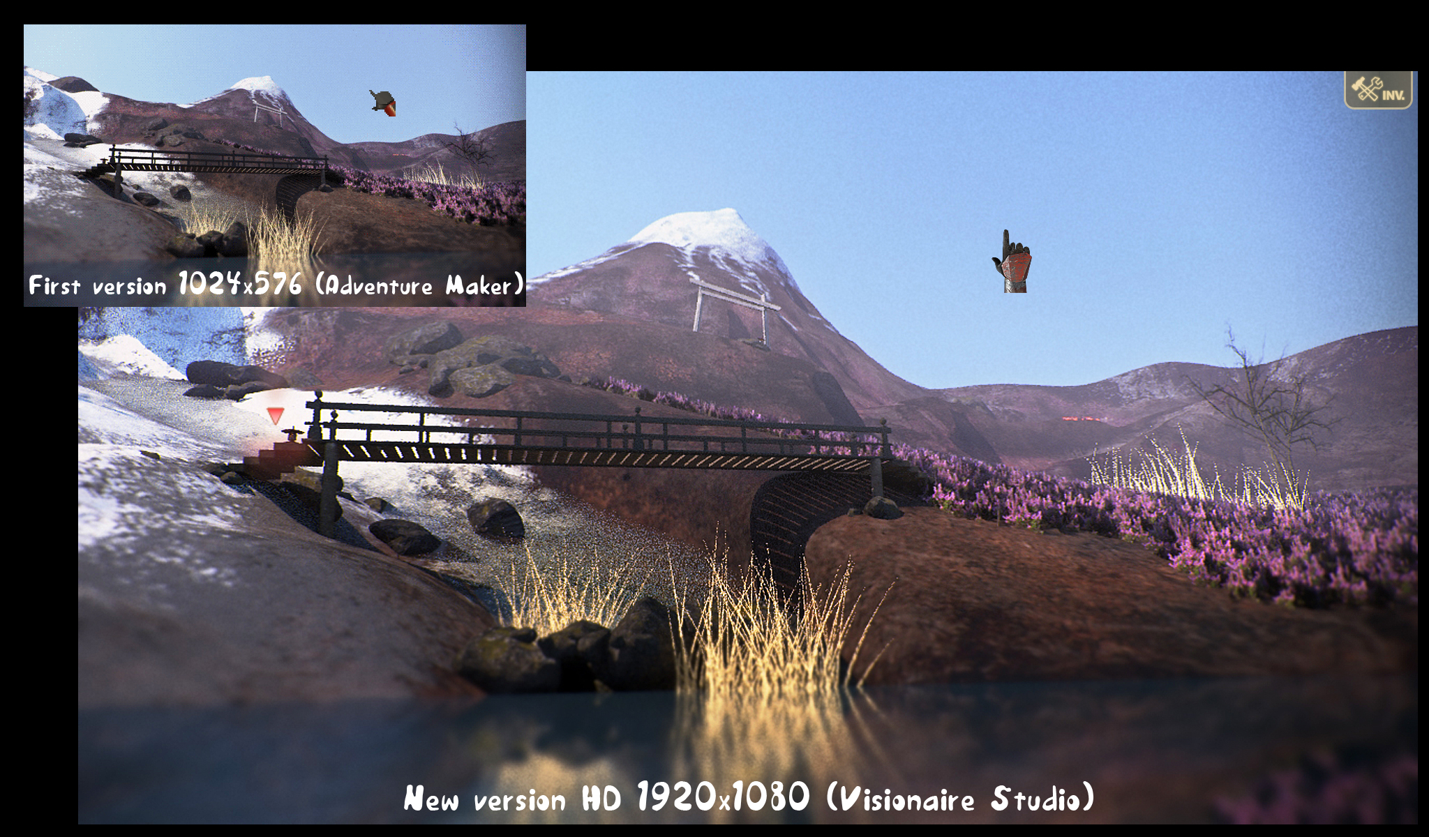 Evolution of the project with the use of Visionaire Studio