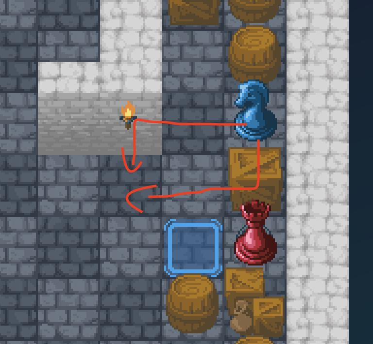 the knight cannot move to a space where both possible paths to get there contain obstructions