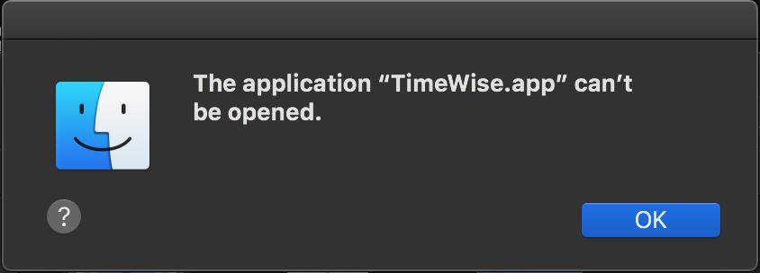Screenshot of error trying to open Mac