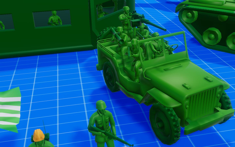 Willys Jeep + Bazooka Man + Flamethrower + Rifle Man