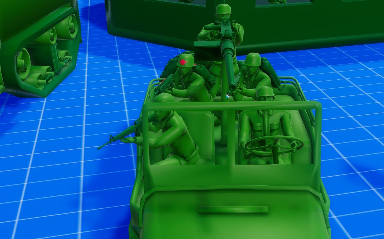 Willys Jeep + Medic + Flamethrower + M16 Assault Man