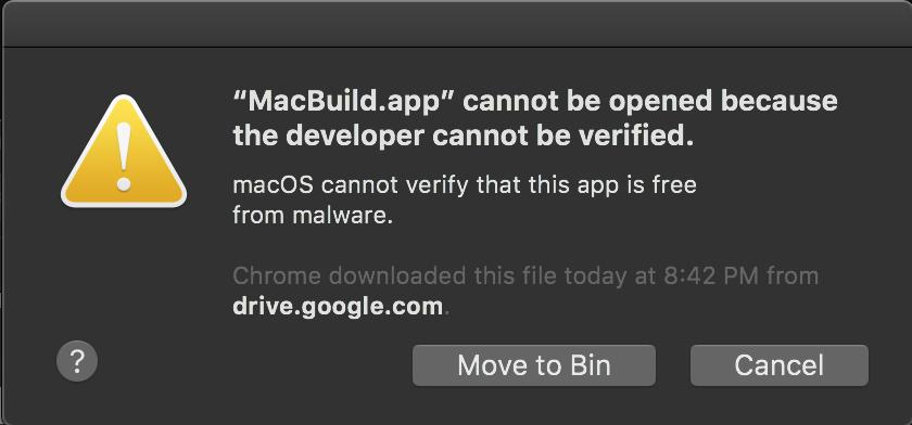 Screenshot of Mac error - App not signed