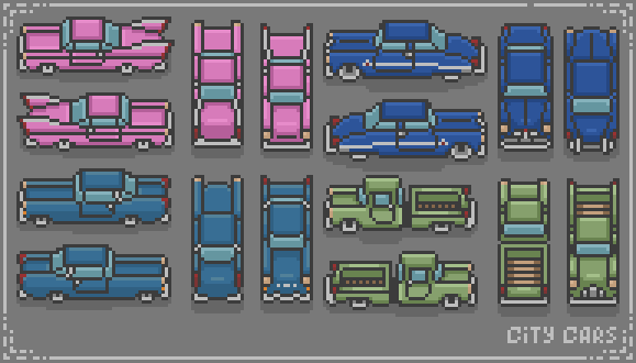 Pixel art city cars