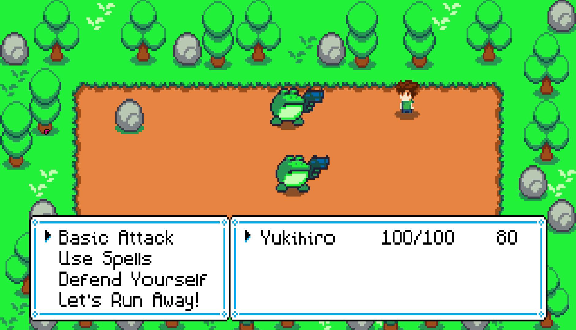 Screencap of the turn based combat