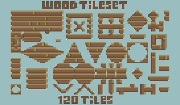 Pixel art wood planks tileset