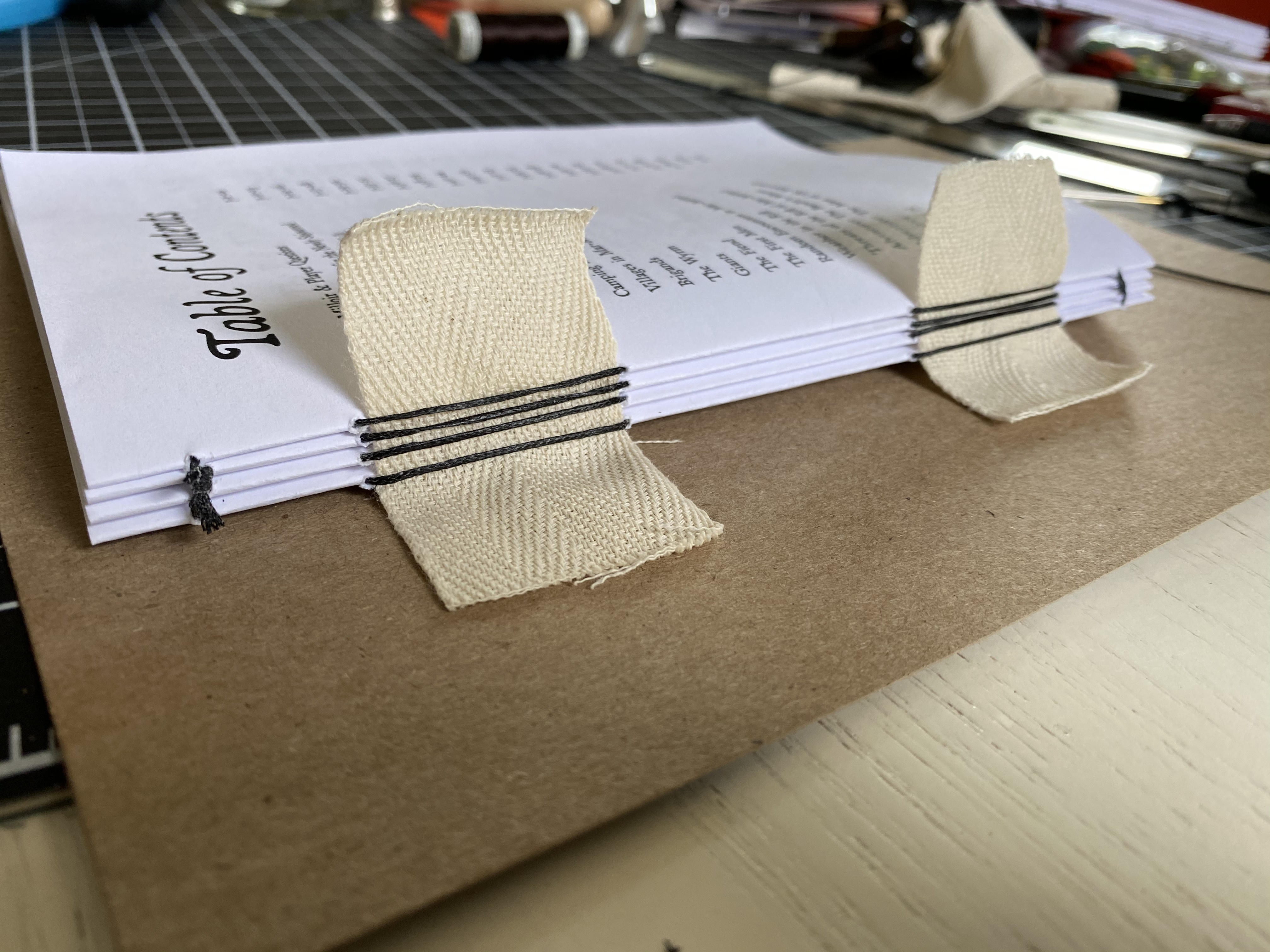 text block sewn
