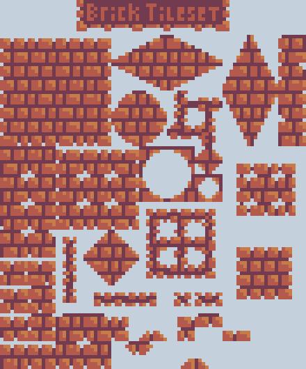 Pixel art brick tileset v1