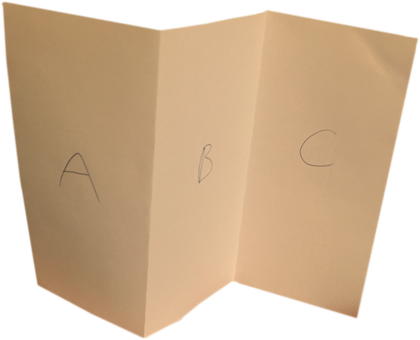 A sheet of A4 paper in landscape format, folded into equal thirds with vertical creases.