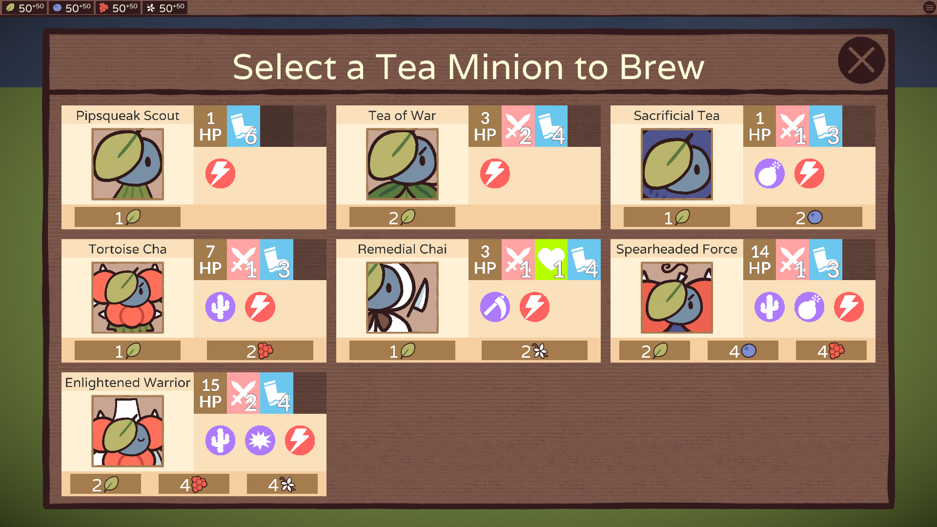A table of tea minions that can be brewed