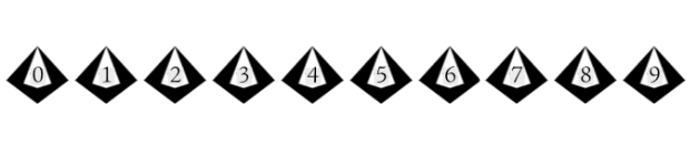 nine ten-sided dice showing 0 through 9.