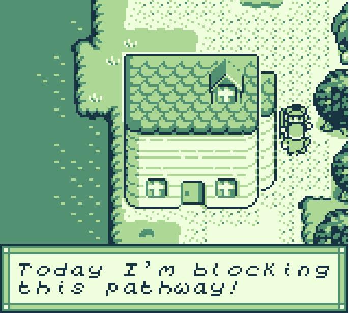 Jabberwocky gameboy game - a guard blocks the path