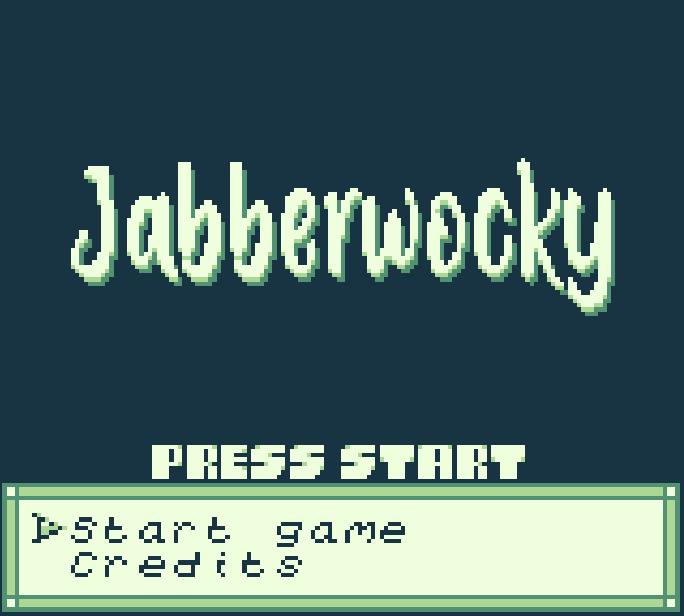 Jabberwocky gameboy game - the start screen