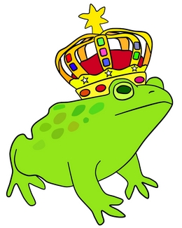 A drawing of a frog prince with a crown