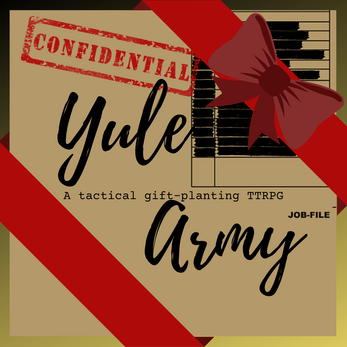 Cover of Yule Army. Immitates a confidential file wrapped like a present.