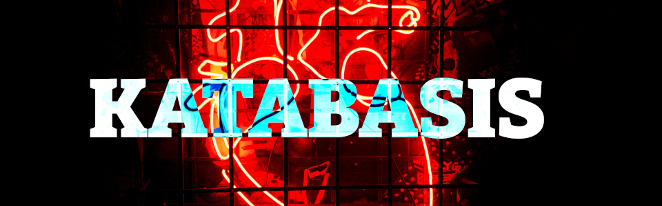 Cover of KATABASIS. A neon sign of an anatomically correct heart