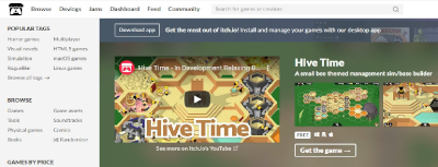 A screenshot of Hive Time's banner on the front page of Itch.io