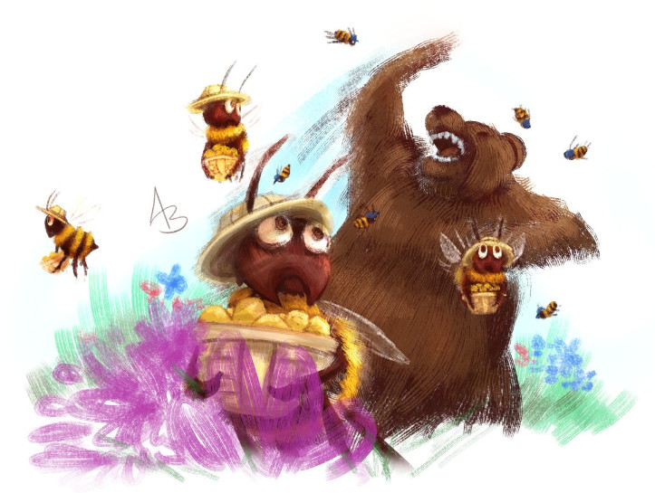 A piece of Hive Time fan art depicting Foragers fleeing from Old Bitey while Defenders assail the bear.