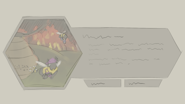 Concept art for a bush fire themed event.