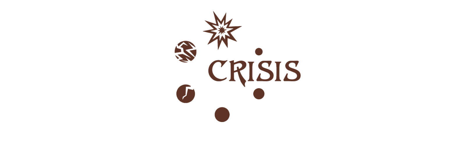 Cover of Crisis. The title is circled by spheres - some plain, some with lightning texture and one exploding.