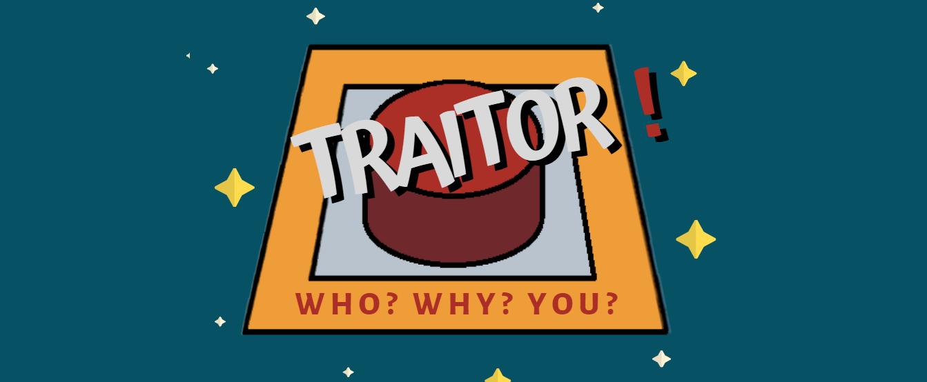 Cover of Traitor. The title against a image of a red round button with the text