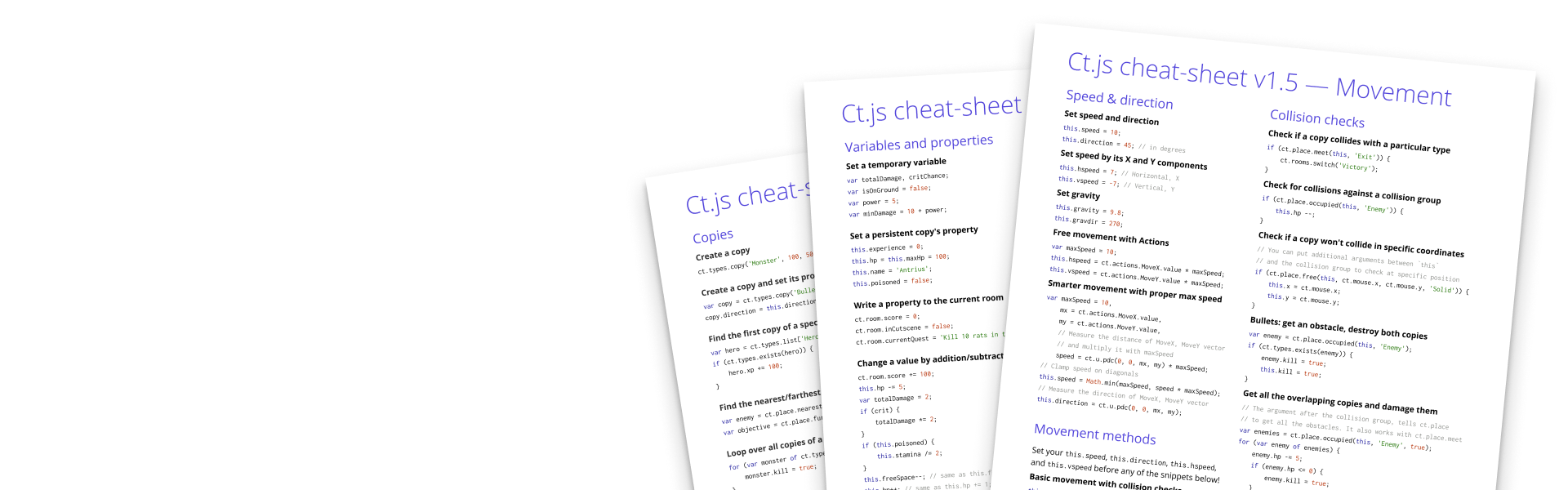 Ct.js cheat-sheet for v1.5