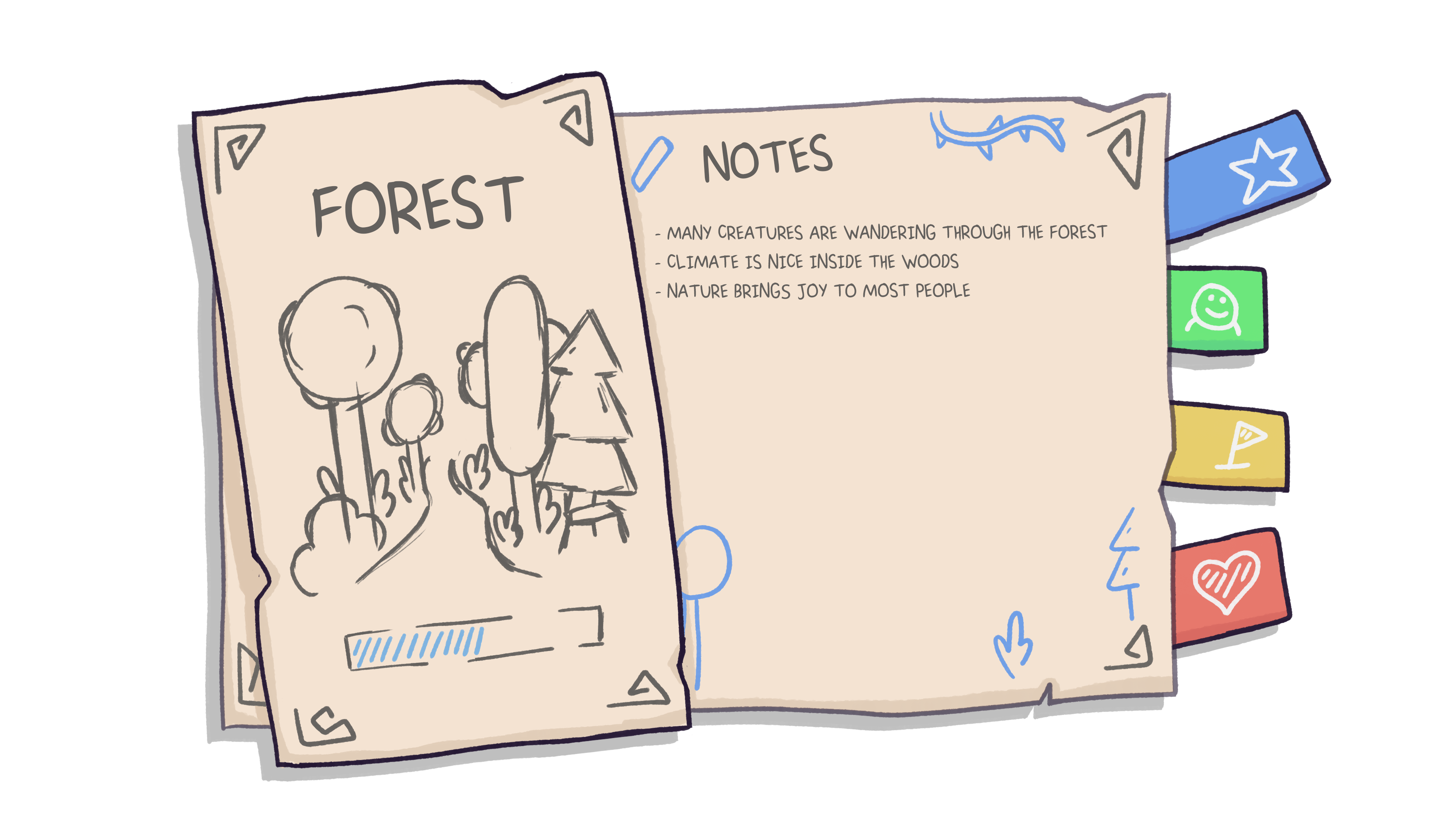 Drawing of player´s notebook