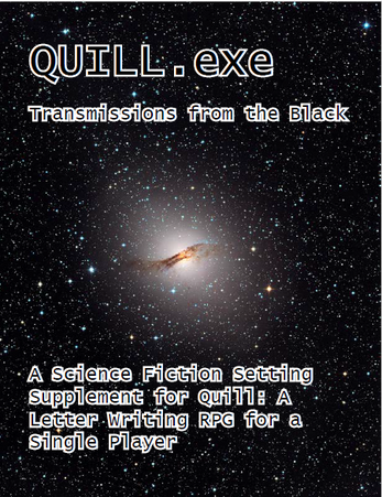 Cover of QUILL.exe. A photo of space.
