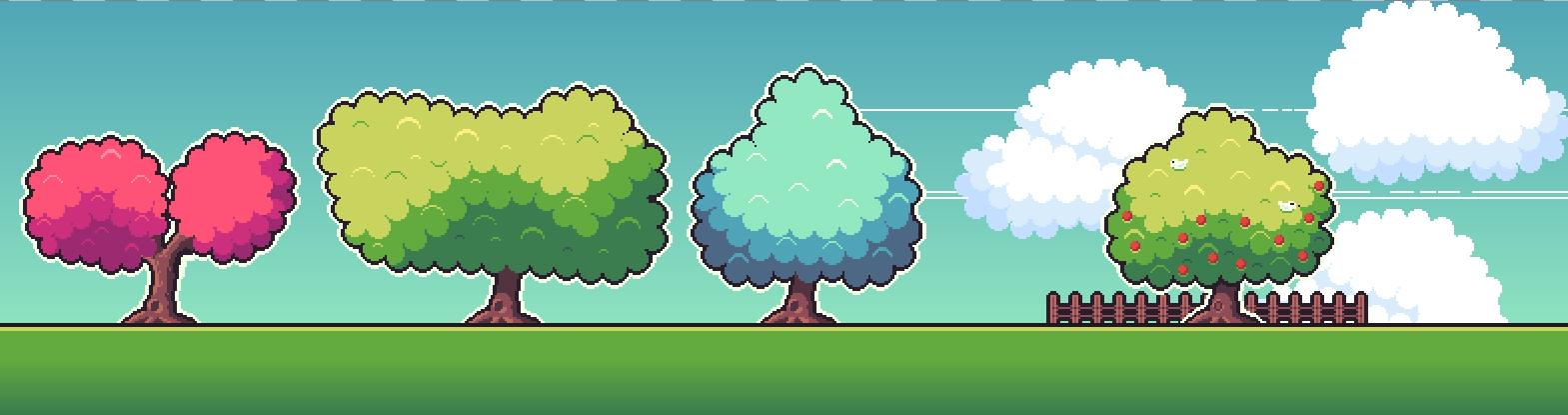 250 Pixel Art Clouds & Tree Tops