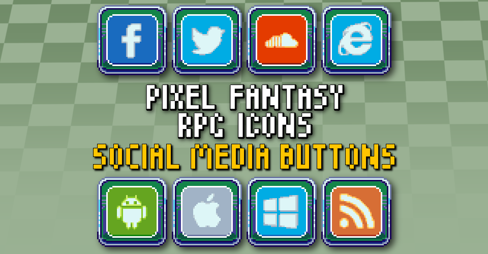 PIXEL FANTASY RPG ICONS - SOCIAL MEDIA BUTTONS