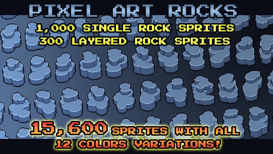 1300 Pixel Art Rocks Pack