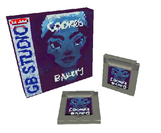Game box and two cartridges (3d mockup)