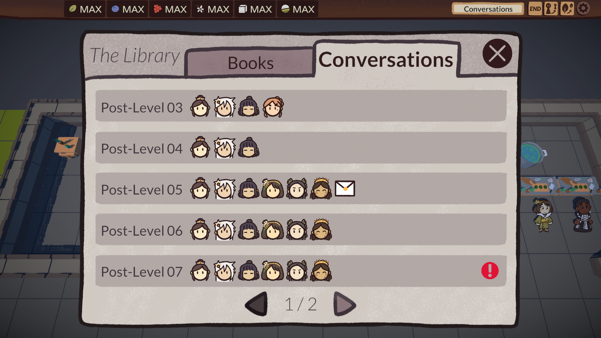 Conversations Tab of the Library