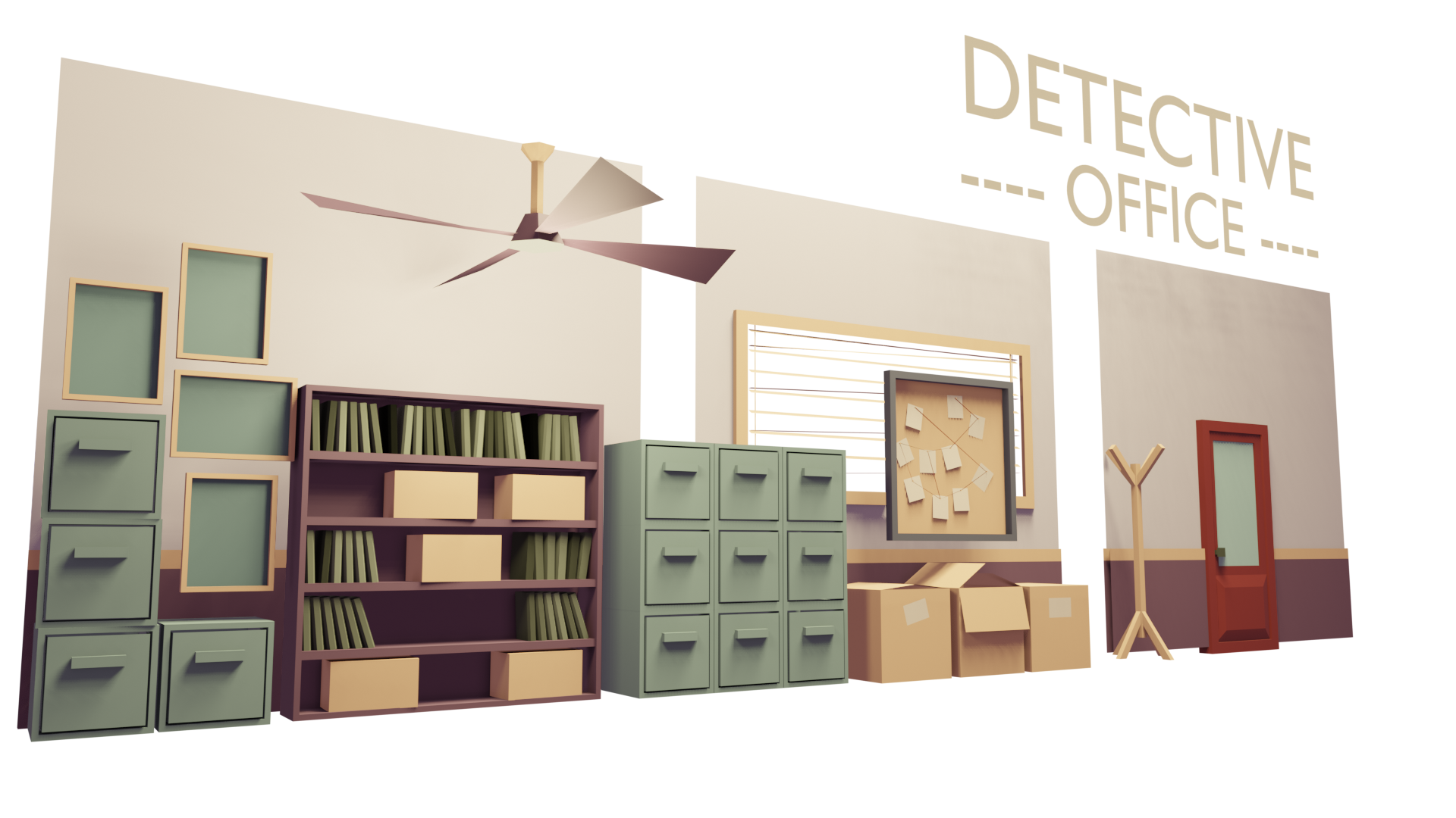 Low Poly - Detective Office - Assets