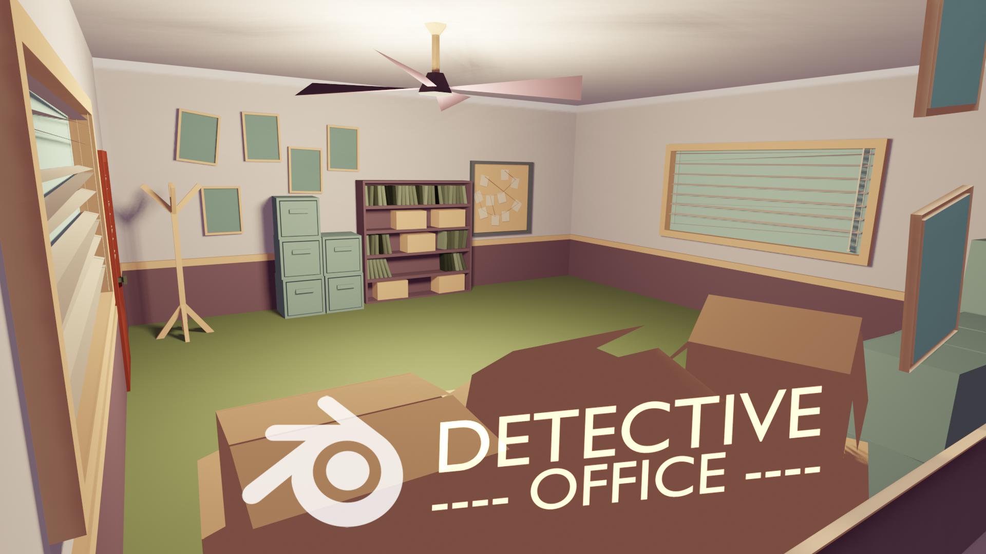 Detective office illustration