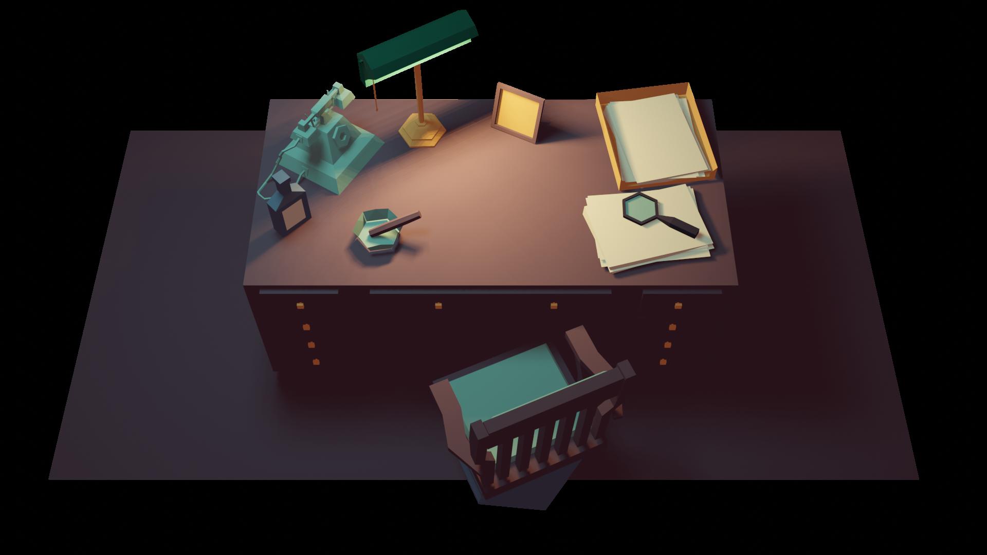 Desk detective top view