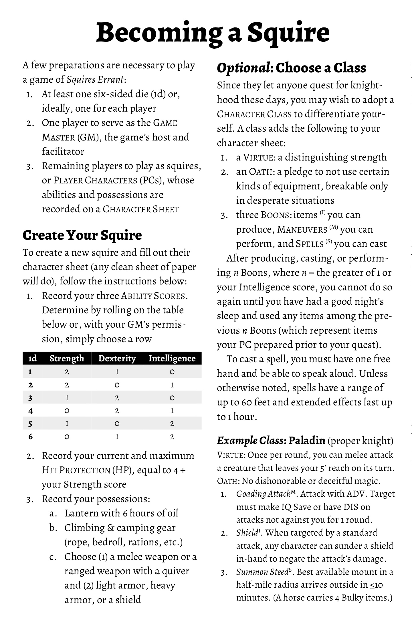 Rules for Creating a Character