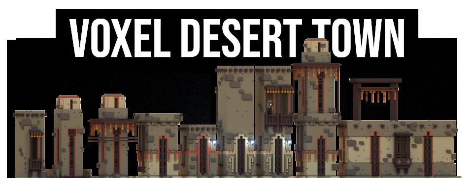 Voxel environment assets : Desert town
