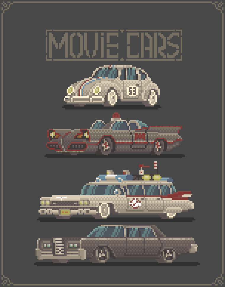 Pixel art movie cars
